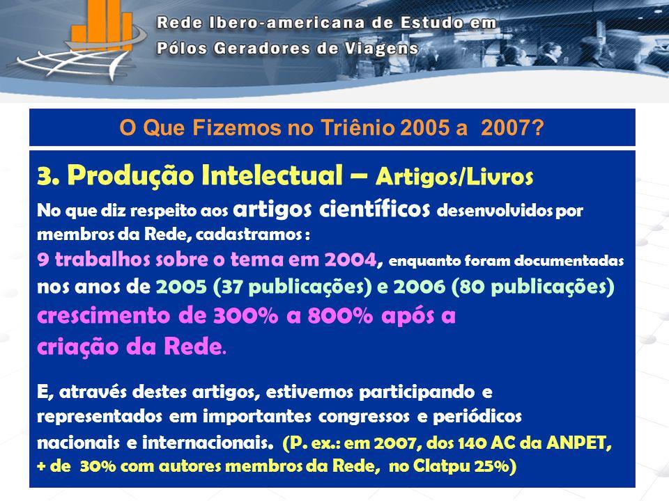 Programa de Engenharia de Transportes - COPPE/UFRJ9 4.Produção Intelectual – Formação de Pessoal Dissertações de MSc e Teses de DSc : foram identificadas 5 em 2004, enquanto registramos 29 nos anos subseqüentes à formação da Rede, 4 das quais de doutorado (Quase que TRIPLICAMOS).
