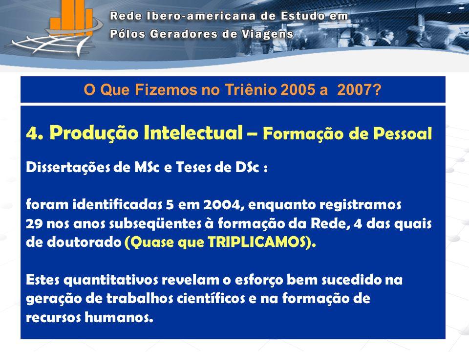 Programa de Engenharia de Transportes - COPPE/UFRJ9 4.Produção Intelectual – Formação de Pessoal Dissertações de MSc e Teses de DSc : foram identifica