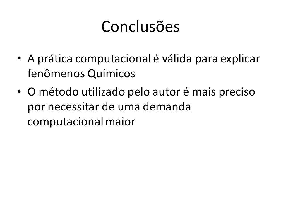 Conclusões A prática computacional é válida para explicar fenômenos Químicos O método utilizado pelo autor é mais preciso por necessitar de uma demanda computacional maior