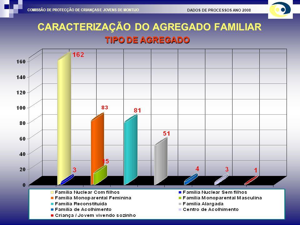 CARACTERIZAÇÃO DO AGREGADO FAMILIAR DADOS DE PROCESSOS ANO 2008 COMISSÃO DE PROTECÇÃO DE CRIANÇAS E JOVENS DE MONTIJO AGREGADO COM QUEM VIVE A CRIAÇA / JOVEM