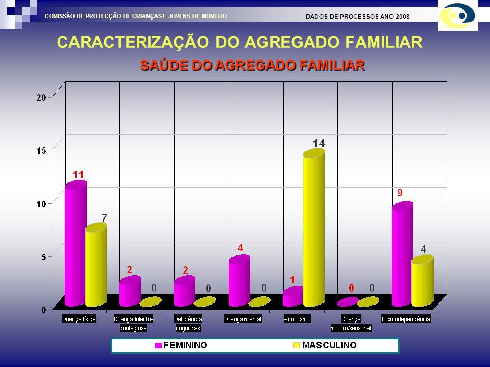 CARACTERIZAÇÃO DO AGREGADO FAMILIAR DADOS DE PROCESSOS ANO 2008 COMISSÃO DE PROTECÇÃO DE CRIANÇAS E JOVENS DE MONTIJO RENDIMENTOS / SITUAÇÃO PERANTE O TRABALHO