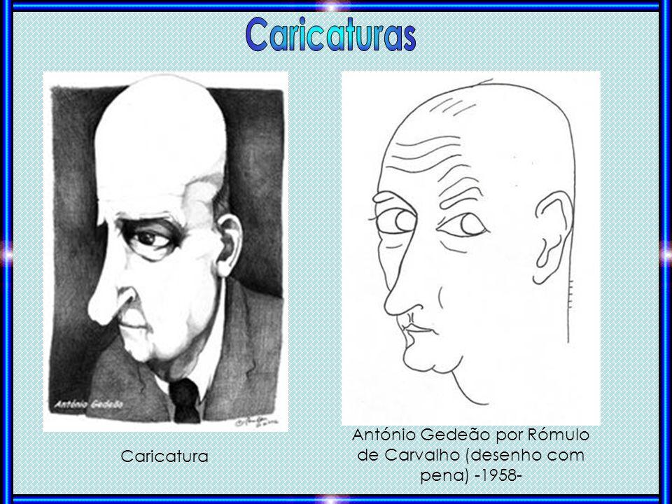 António Gedeão por Rómulo de Carvalho (desenho com pena) -1958- Caricatura