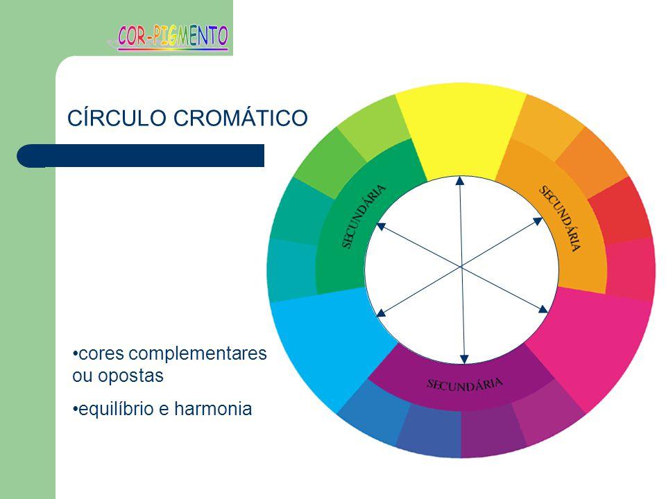 cores complementares ou opostas equilíbrio e harmonia CÍRCULO CROMÁTICO