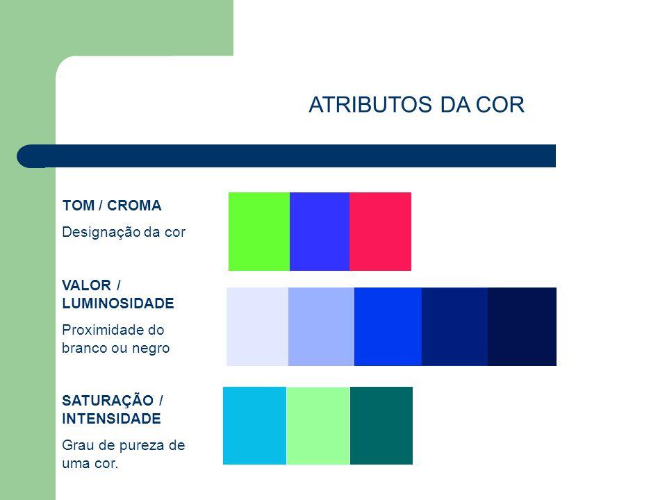TOM / CROMA Designação da cor VALOR / LUMINOSIDADE Proximidade do branco ou negro SATURAÇÃO / INTENSIDADE Grau de pureza de uma cor. ATRIBUTOS DA COR