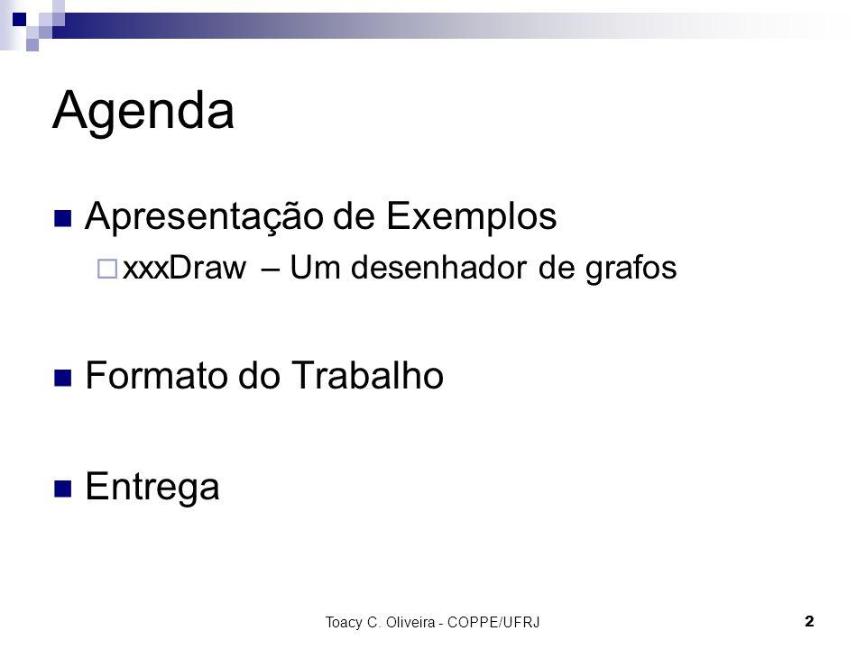 2 Agenda Apresentação de Exemplos  xxxDraw – Um desenhador de grafos Formato do Trabalho Entrega