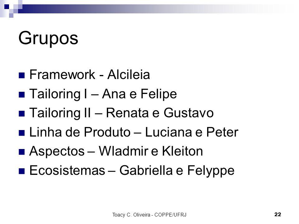 Grupos Framework - Alcileia Tailoring I – Ana e Felipe Tailoring II – Renata e Gustavo Linha de Produto – Luciana e Peter Aspectos – Wladmir e Kleiton Ecosistemas – Gabriella e Felyppe Toacy C.