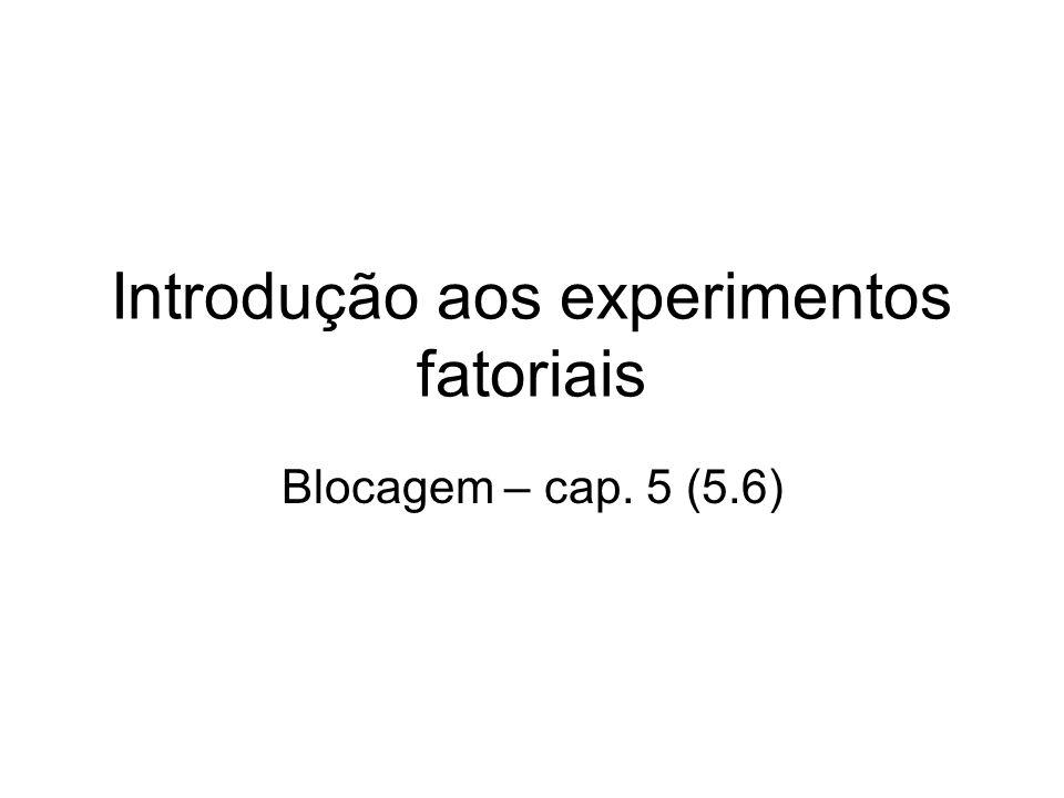 Introdução aos experimentos fatoriais Blocagem – cap. 5 (5.6)