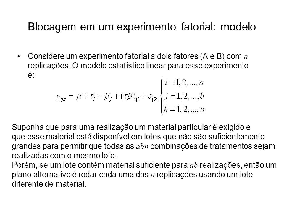 Blocagem em um experimento fatorial: modelo Considere um experimento fatorial a dois fatores (A e B) com n replicações. O modelo estatístico linear pa