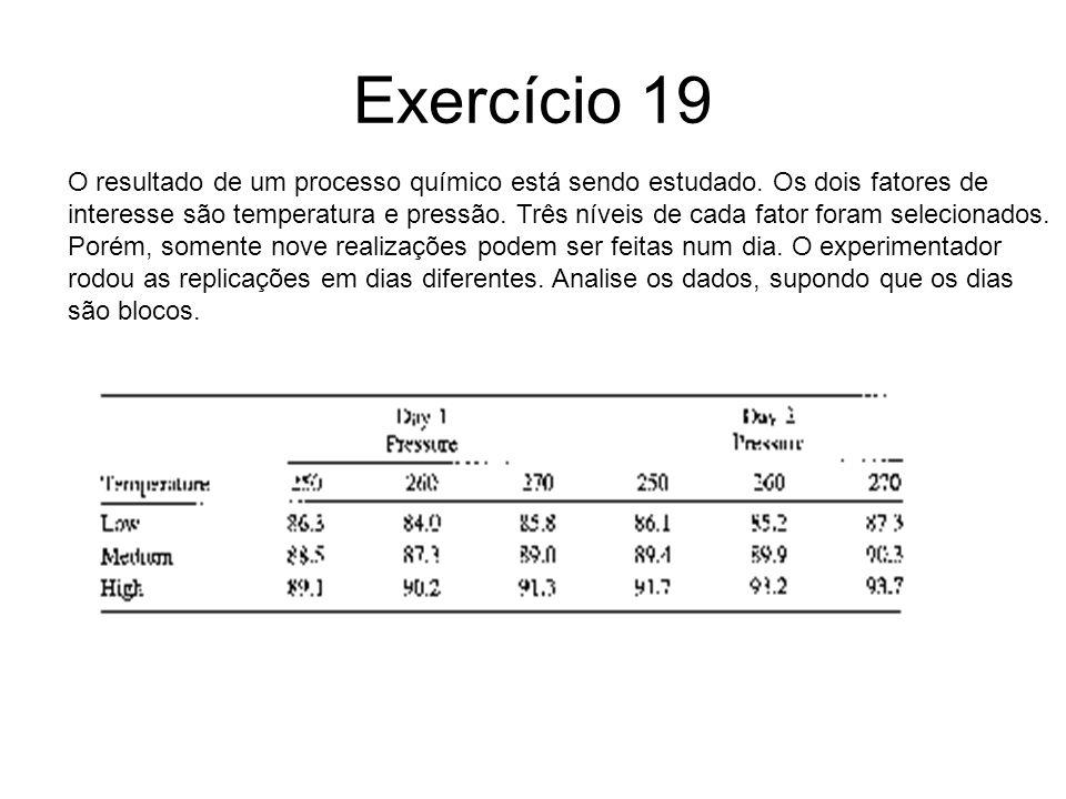 Exercício 19 O resultado de um processo químico está sendo estudado. Os dois fatores de interesse são temperatura e pressão. Três níveis de cada fator