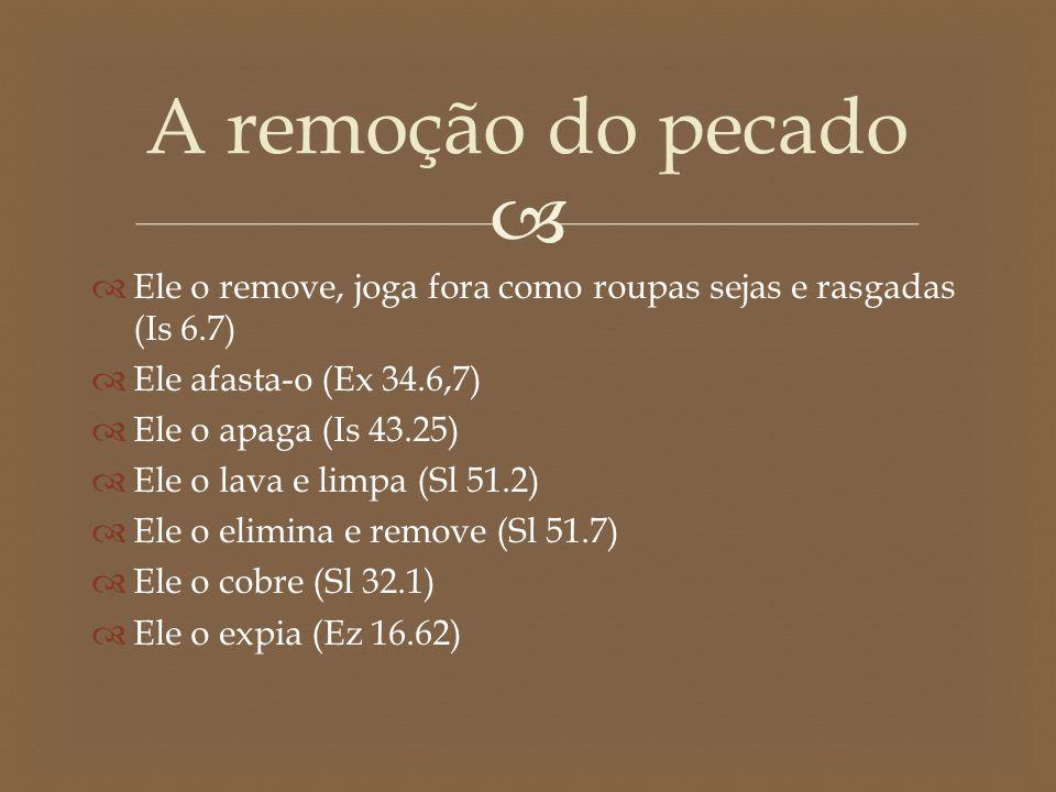   Ele o remove, joga fora como roupas sejas e rasgadas (Is 6.7)  Ele afasta-o (Ex 34.6,7)  Ele o apaga (Is 43.25)  Ele o lava e limpa (Sl 51.2) 
