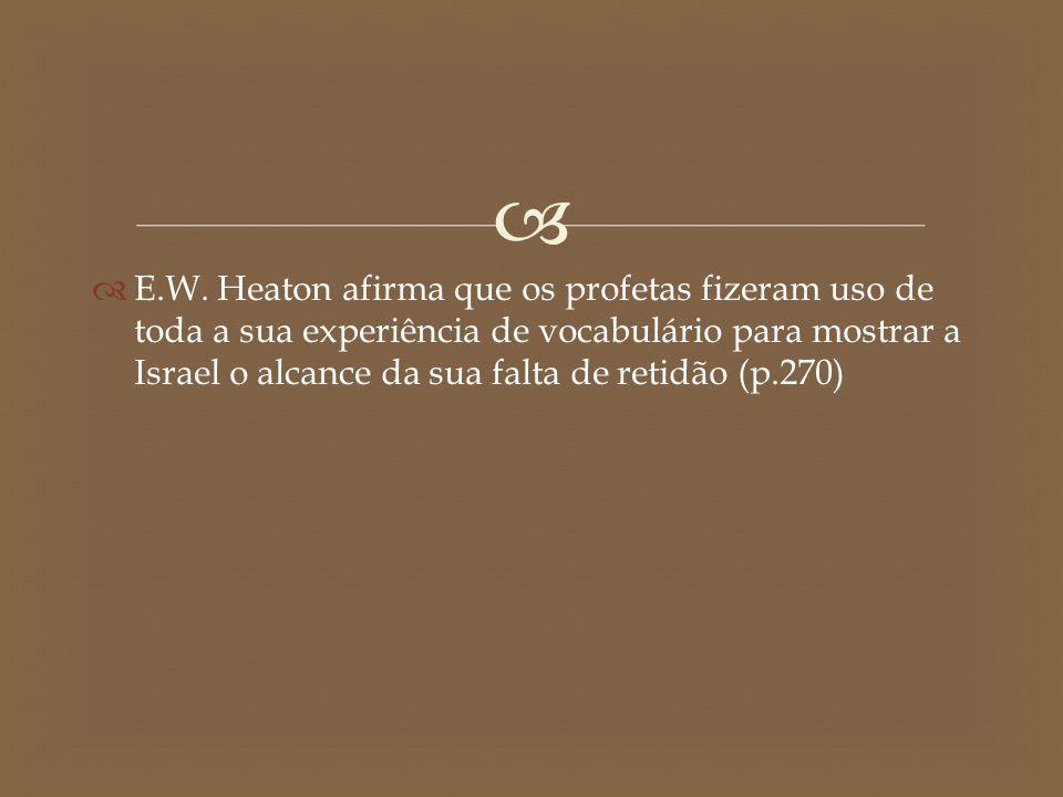   E.W. Heaton afirma que os profetas fizeram uso de toda a sua experiência de vocabulário para mostrar a Israel o alcance da sua falta de retidão (p