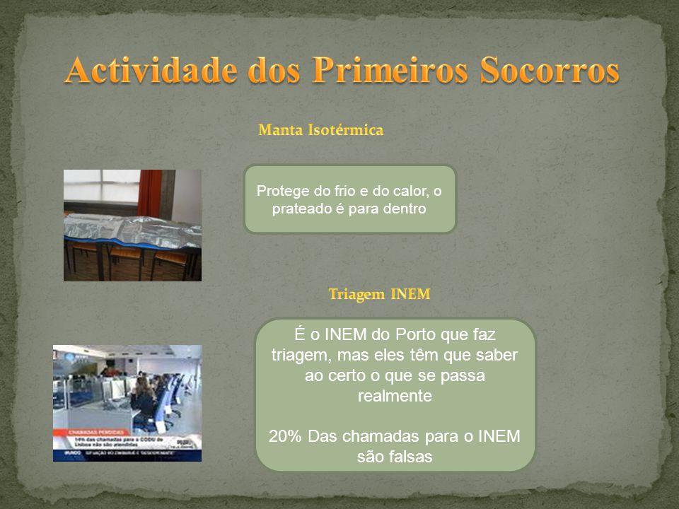 Protege do frio e do calor, o prateado é para dentro É o INEM do Porto que faz triagem, mas eles têm que saber ao certo o que se passa realmente 20% Das chamadas para o INEM são falsas