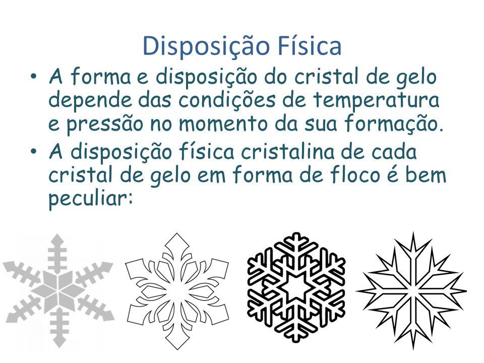 Disposição Física A forma e disposição do cristal de gelo depende das condições de temperatura e pressão no momento da sua formação. A disposição físi