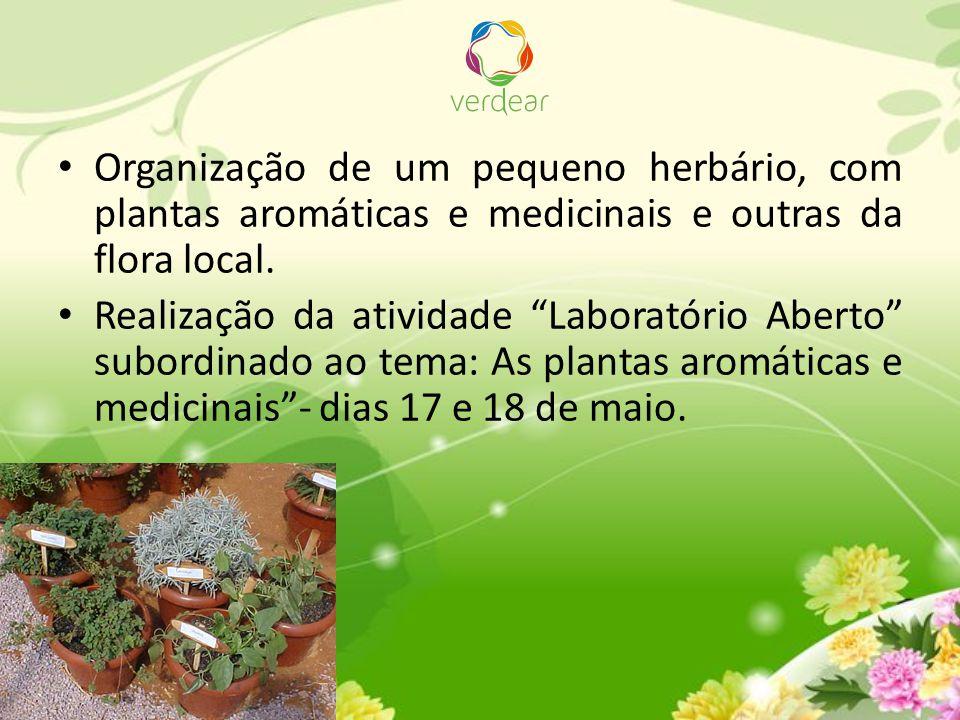 """Organização de um pequeno herbário, com plantas aromáticas e medicinais e outras da flora local. Realização da atividade """"Laboratório Aberto"""" subordin"""