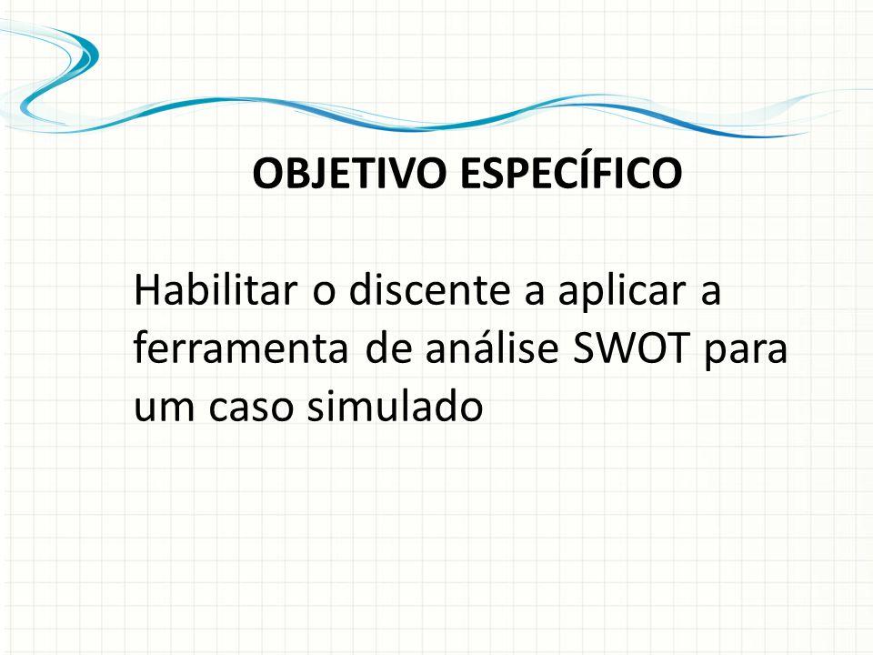 OBJETIVO ESPECÍFICO Habilitar o discente a aplicar a ferramenta de análise SWOT para um caso simulado
