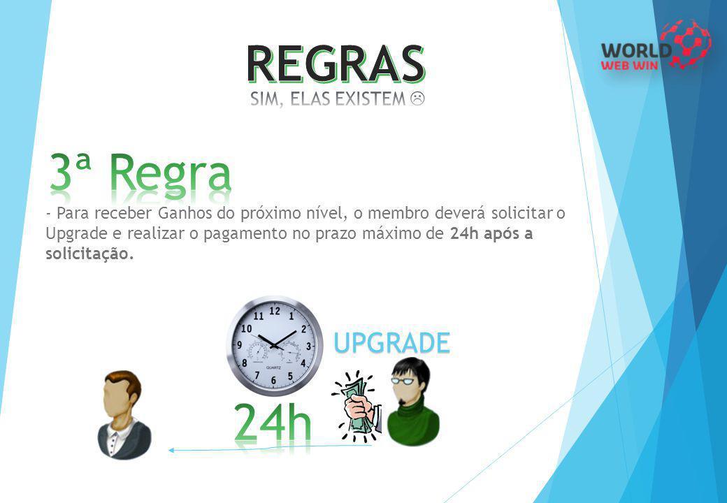 - Para receber Ganhos do próximo nível, o membro deverá solicitar o Upgrade e realizar o pagamento no prazo máximo de 24h após a solicitação. UPGRADE