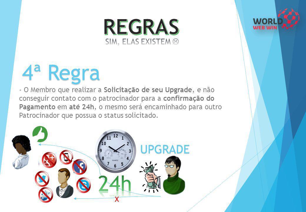 4ª Regra - O Membro que realizar a Solicitação de seu Upgrade, e não conseguir contato com o patrocinador para a confirmação do Pagamento em até 24h,