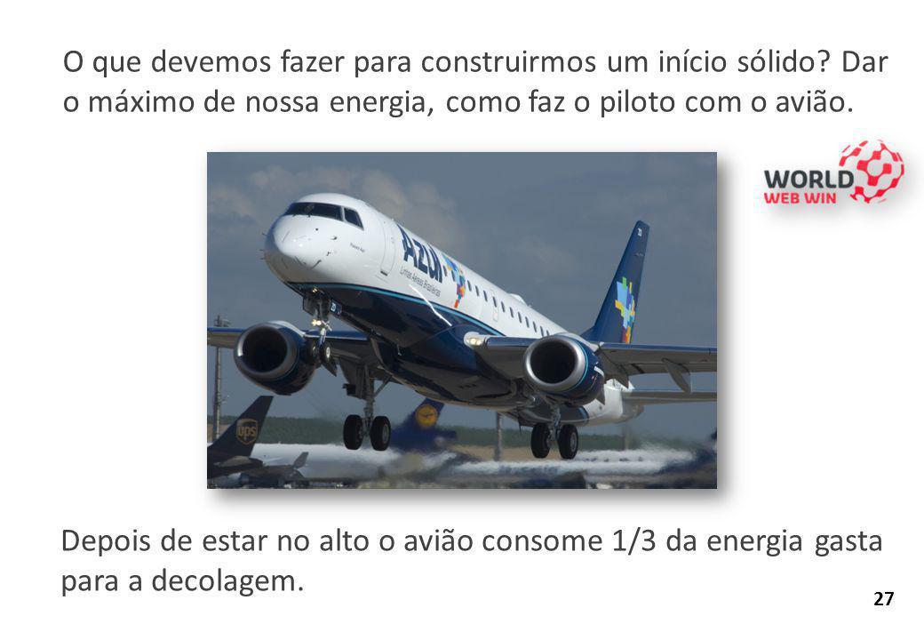 O que devemos fazer para construirmos um início sólido? Dar o máximo de nossa energia, como faz o piloto com o avião. Depois de estar no alto o avião