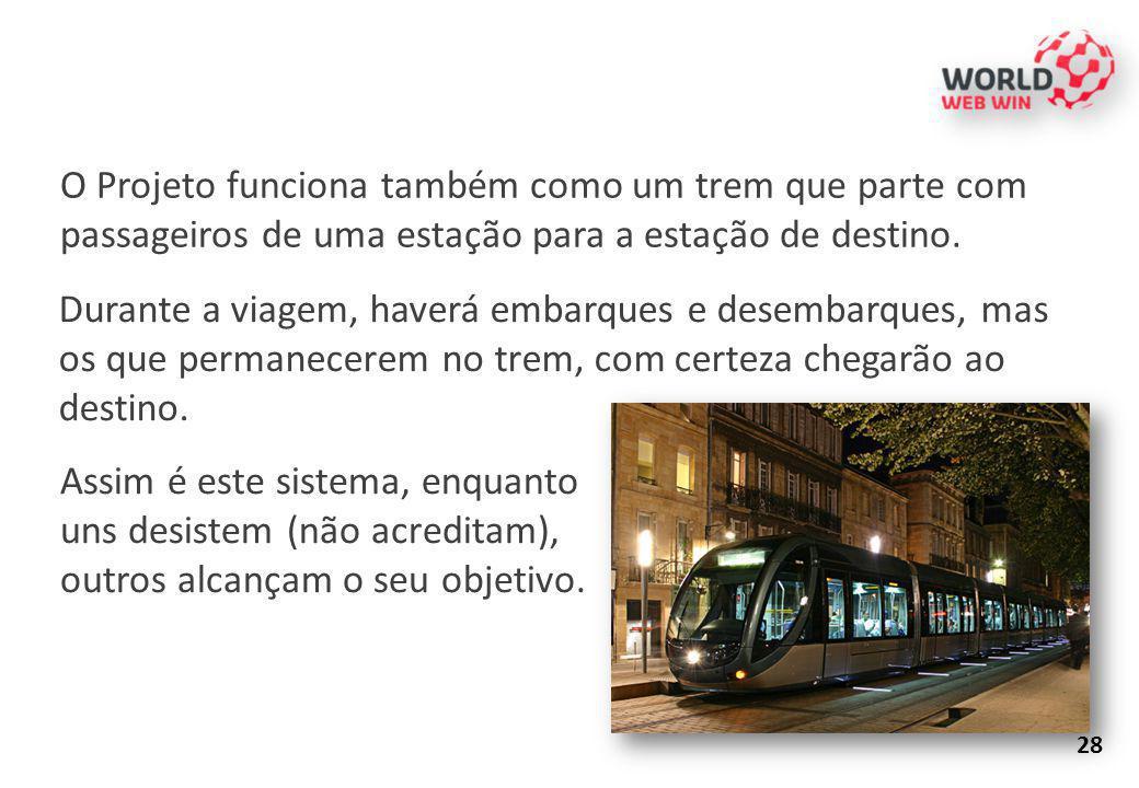O Projeto funciona também como um trem que parte com passageiros de uma estação para a estação de destino. Durante a viagem, haverá embarques e desemb