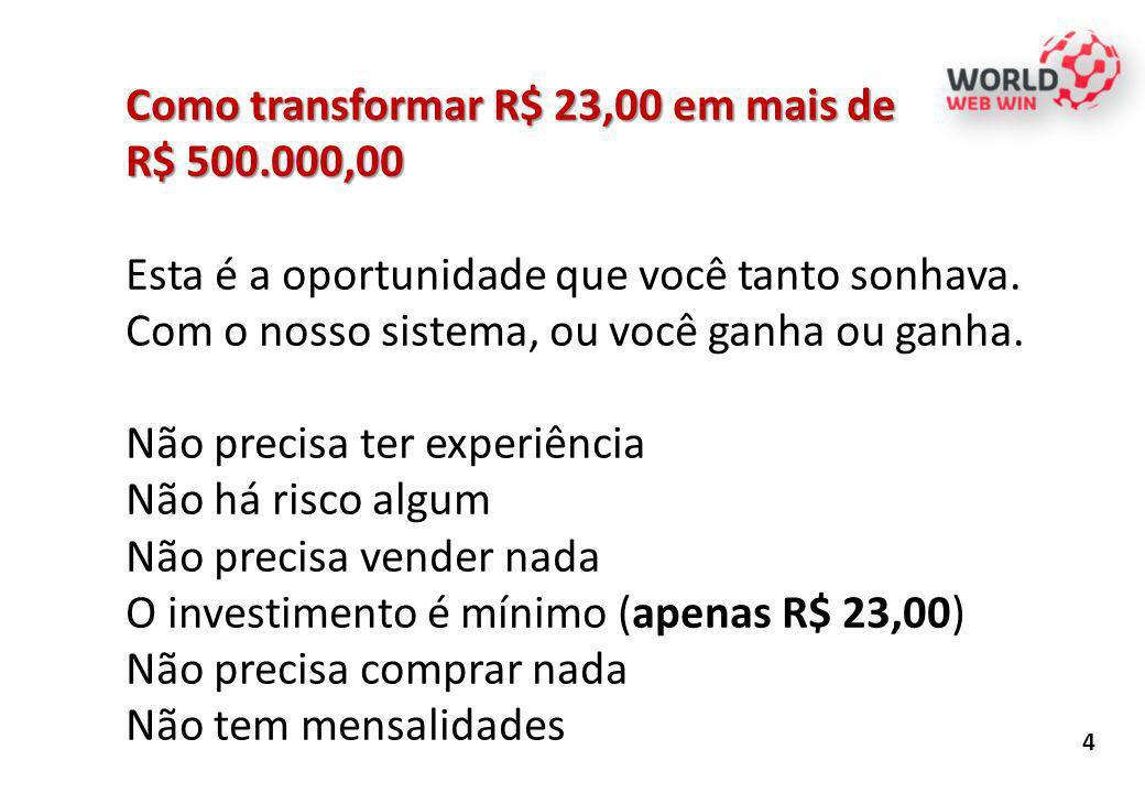 WWW - WORLD WEB WIN - TABELA DE GANHOS - DOLAR = R$2,30 QUALIFICAÇÃO NÍVEL QTDE PESS Valor a ser recebido (U$)total (U$)DOA (U$)RESTA (U$)GANHOS (R$) ADESÃO10,00 BRONZE1210,0020,00 0,00 PRATA2420,0080,0040,00 92,00 OURO3840,00320,0080,00240,00552,00 41680,001.280,00160,001.120,002.576,00 532160,005.120,00320,004.800,0011.040,00 664320,0020.480,00640,0019.840,0045.632,00