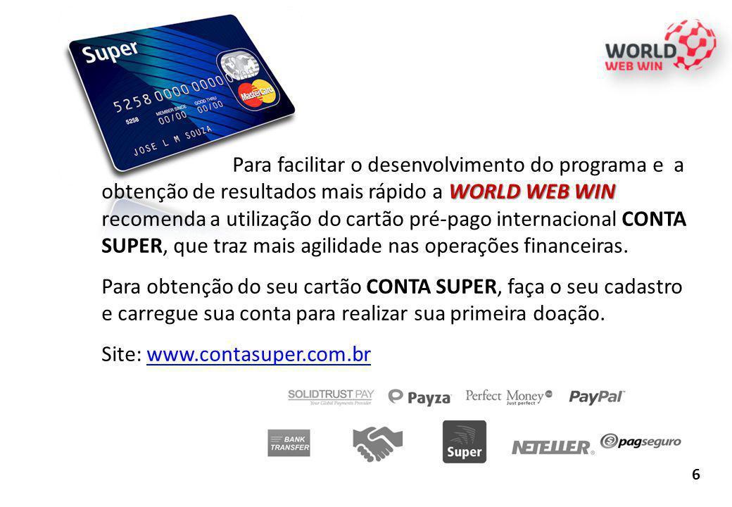 6 WORLD WEB WIN Para facilitar o desenvolvimento do programa e a obtenção de resultados mais rápido a WORLD WEB WIN recomenda a utilização do cartão p