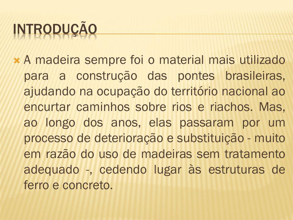  A madeira sempre foi o material mais utilizado para a construção das pontes brasileiras, ajudando na ocupação do território nacional ao encurtar caminhos sobre rios e riachos.