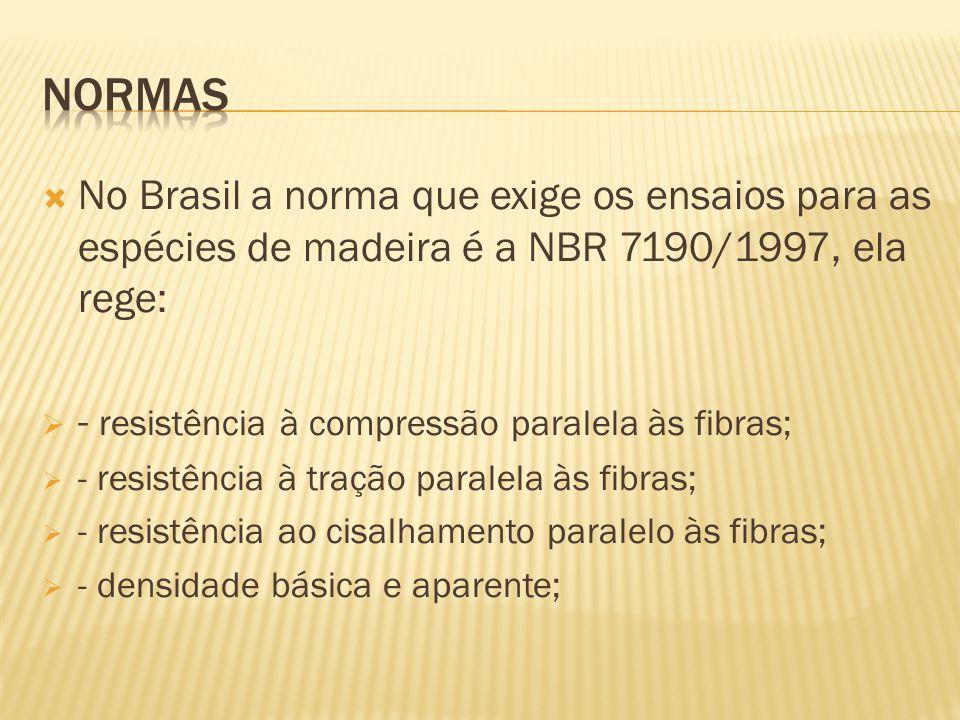  No Brasil a norma que exige os ensaios para as espécies de madeira é a NBR 7190/1997, ela rege:  - resistência à compressão paralela às fibras;  - resistência à tração paralela às fibras;  - resistência ao cisalhamento paralelo às fibras;  - densidade básica e aparente;