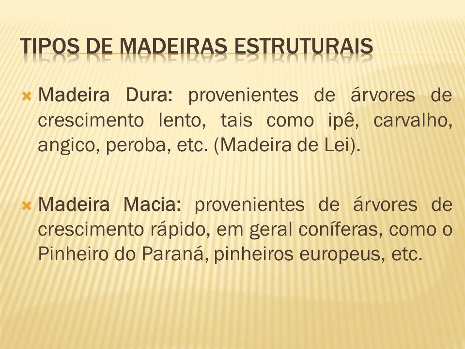  Madeira Dura: provenientes de árvores de crescimento lento, tais como ipê, carvalho, angico, peroba, etc.