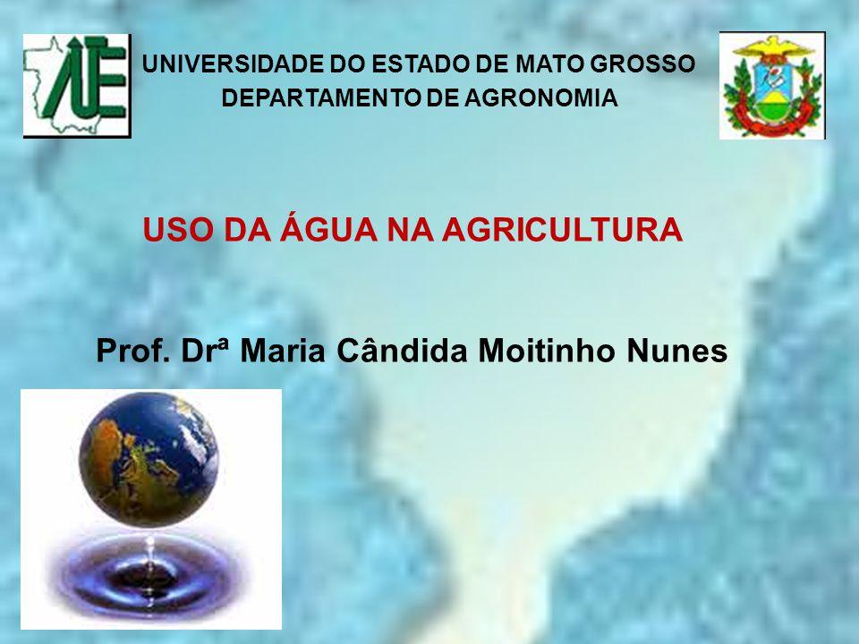 UNIVERSIDADE DO ESTADO DE MATO GROSSO DEPARTAMENTO DE AGRONOMIA USO DA ÁGUA NA AGRICULTURA Prof. Drª Maria Cândida Moitinho Nunes