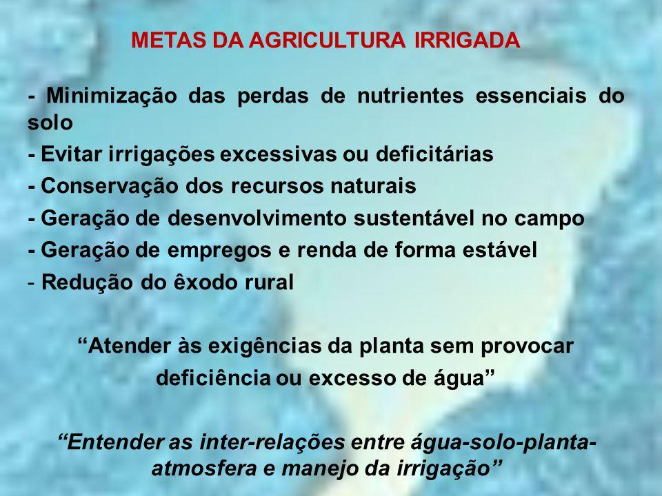 METAS DA AGRICULTURA IRRIGADA - Minimização das perdas de nutrientes essenciais do solo - Evitar irrigações excessivas ou deficitárias - Conservação d