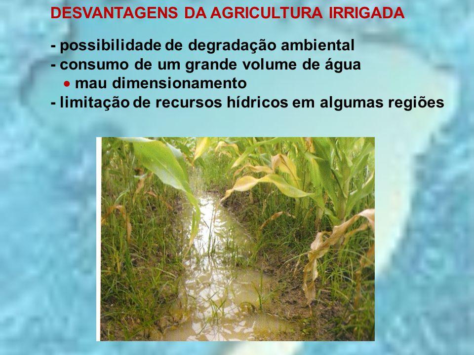 DESVANTAGENS DA AGRICULTURA IRRIGADA - possibilidade de degradação ambiental - consumo de um grande volume de água  mau dimensionamento - limitação d