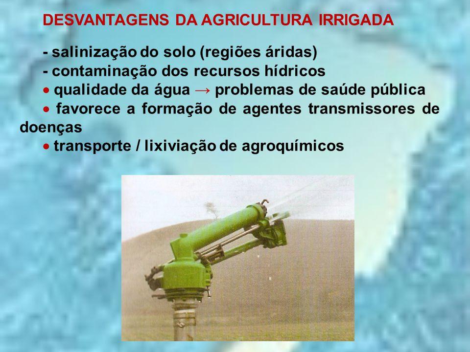 DESVANTAGENS DA AGRICULTURA IRRIGADA - salinização do solo (regiões áridas) - contaminação dos recursos hídricos  qualidade da água → problemas de sa