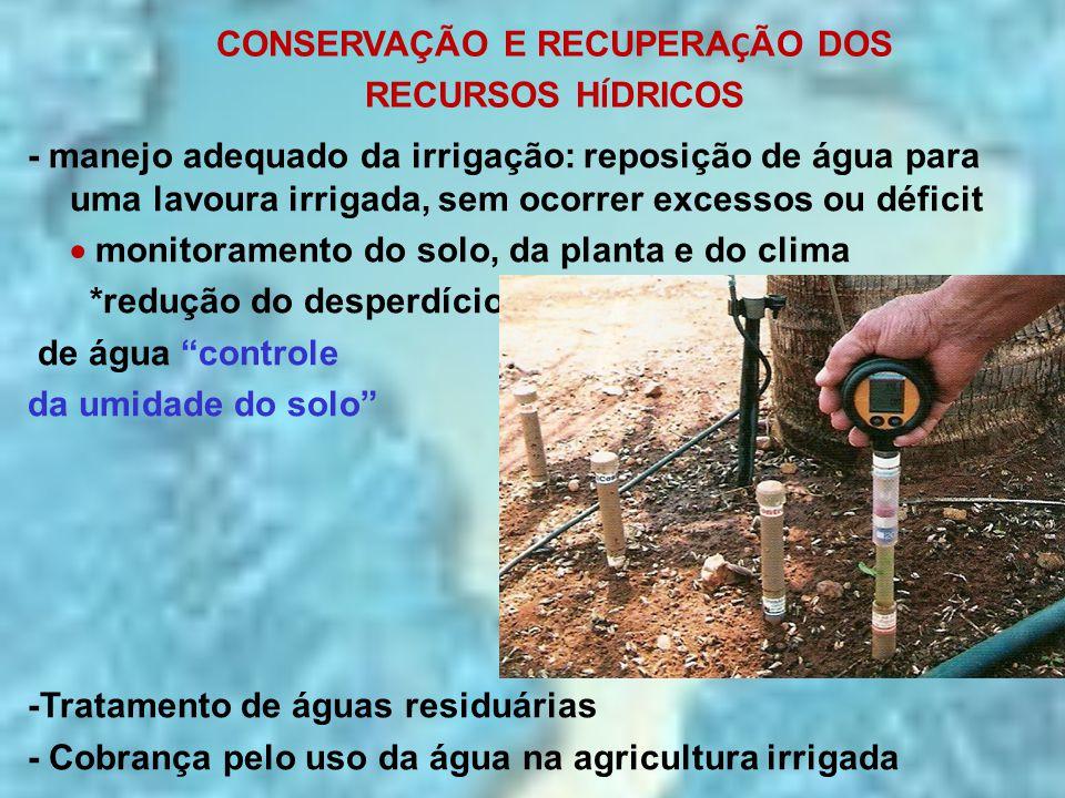 CONSERVAÇÃO E RECUPERA Ç ÃO DOS RECURSOS H Í DRICOS - manejo adequado da irrigação: reposição de água para uma lavoura irrigada, sem ocorrer excessos