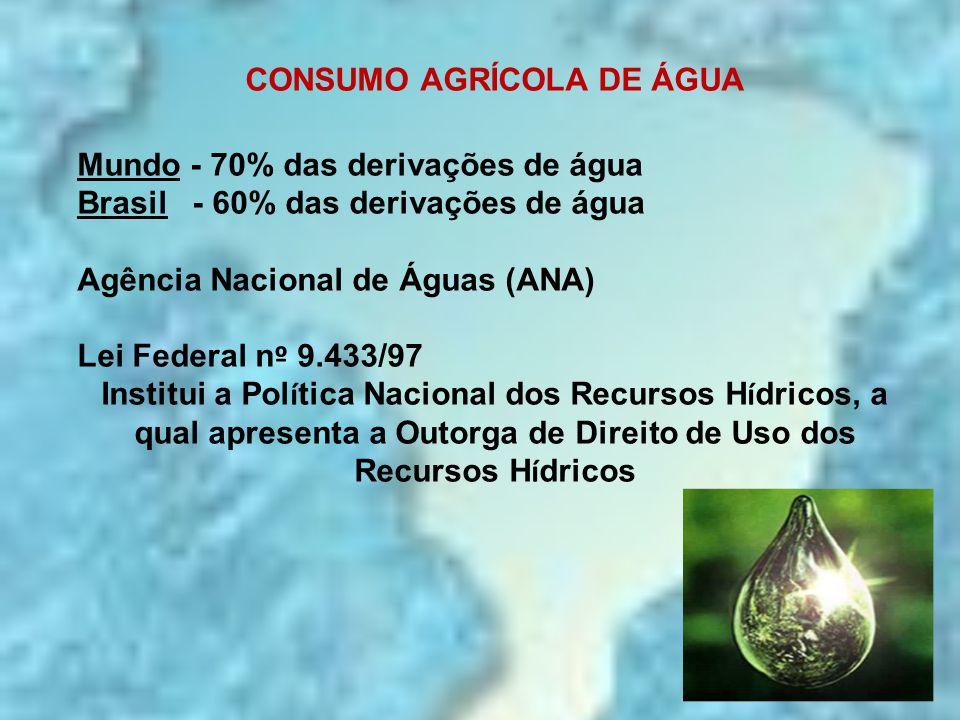 CONSUMO AGRÍCOLA DE ÁGUA Mundo - 70% das derivações de água Brasil - 60% das derivações de água Agência Nacional de Águas (ANA) Lei Federal n º 9.433/