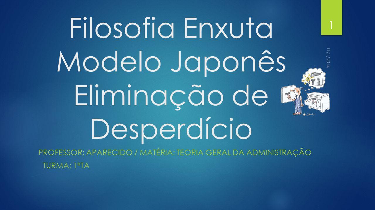Filosofia Enxuta Modelo Japonês Eliminação de Desperdício PROFESSOR: APARECIDO / MATÉRIA: TEORIA GERAL DA ADMINISTRAÇÃO TURMA: 1°TA 11/1/2014 1