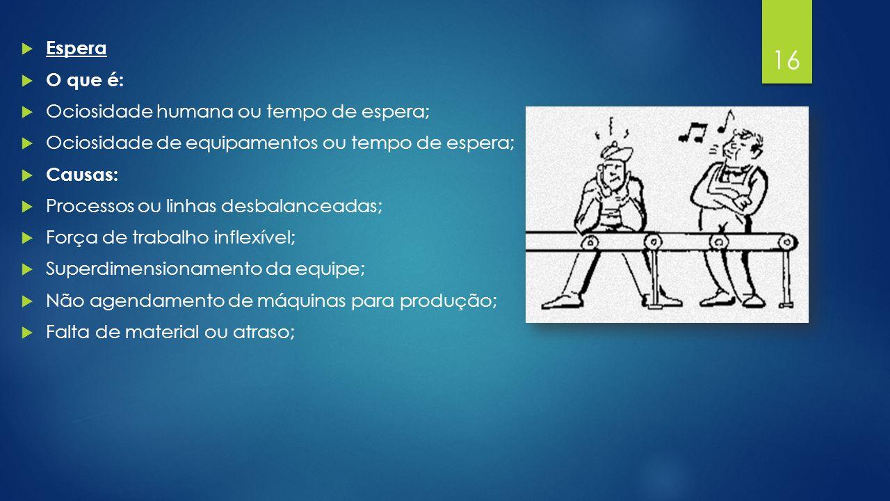  Espera  O que é:  Ociosidade humana ou tempo de espera;  Ociosidade de equipamentos ou tempo de espera;  Causas:  Processos ou linhas desbalanceadas;  Força de trabalho inflexível;  Superdimensionamento da equipe;  Não agendamento de máquinas para produção;  Falta de material ou atraso; 11/1/2014 16