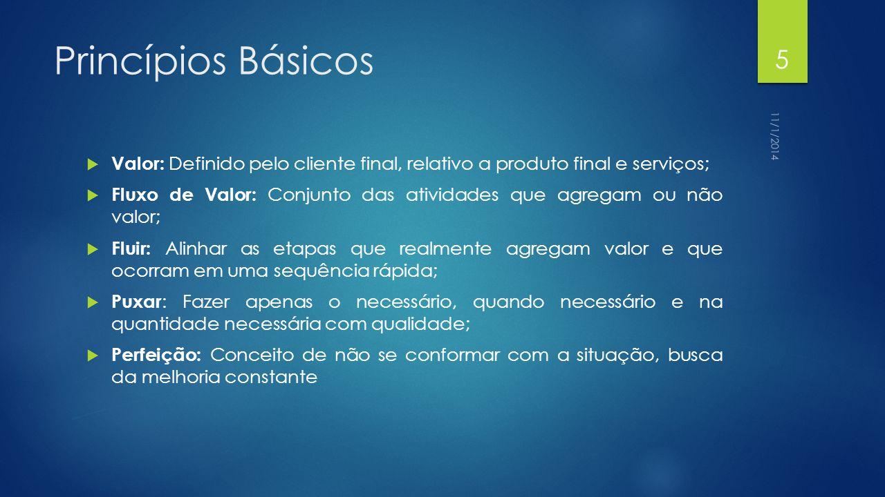 Princípios Básicos  Valor: Definido pelo cliente final, relativo a produto final e serviços;  Fluxo de Valor: Conjunto das atividades que agregam ou não valor;  Fluir: Alinhar as etapas que realmente agregam valor e que ocorram em uma sequência rápida;  Puxar : Fazer apenas o necessário, quando necessário e na quantidade necessária com qualidade;  Perfeição: Conceito de não se conformar com a situação, busca da melhoria constante 11/1/2014 5