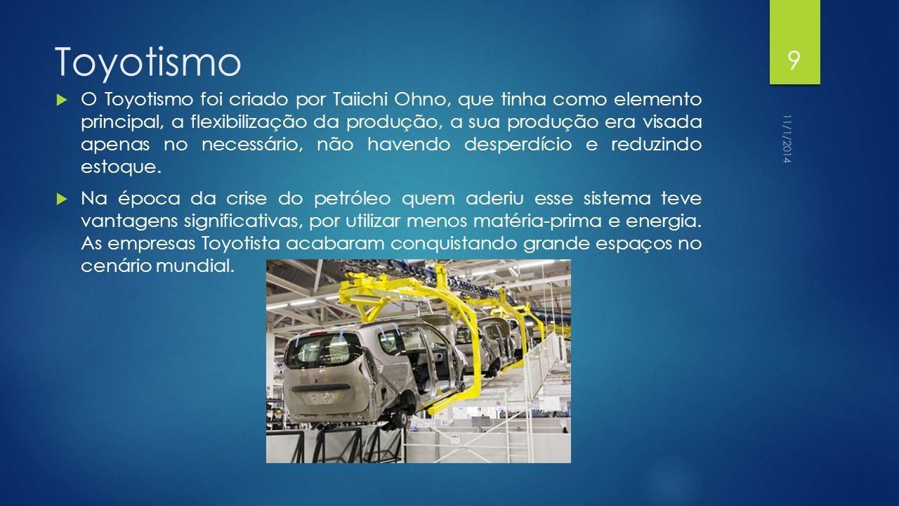 Toyotismo  O Toyotismo foi criado por Taiichi Ohno, que tinha como elemento principal, a flexibilização da produção, a sua produção era visada apenas no necessário, não havendo desperdício e reduzindo estoque.