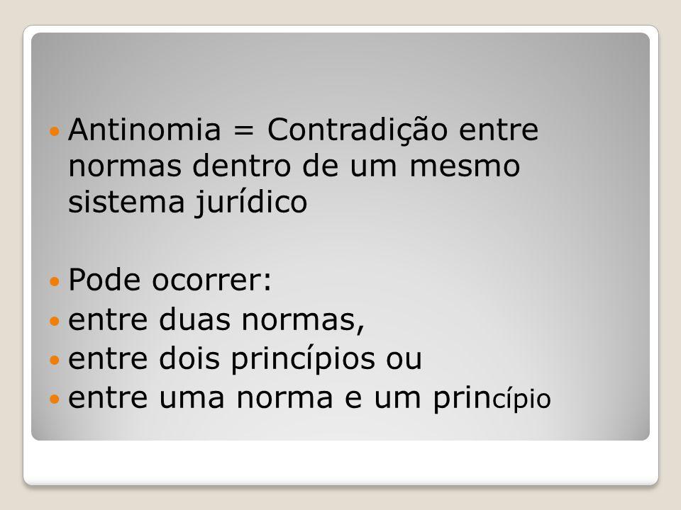 Antinomia = Contradição entre normas dentro de um mesmo sistema jurídico Pode ocorrer: entre duas normas, entre dois princípios ou entre uma norma e u