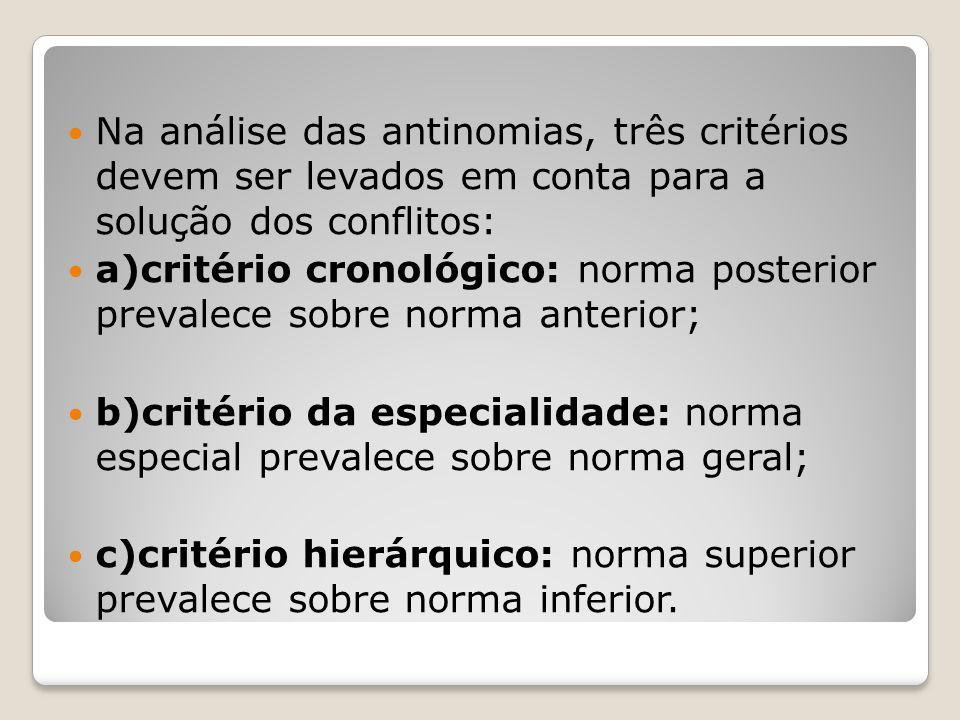 Na análise das antinomias, três critérios devem ser levados em conta para a solução dos conflitos: a)critério cronológico: norma posterior prevalece s