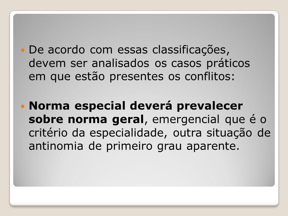 De acordo com essas classificações, devem ser analisados os casos práticos em que estão presentes os conflitos: Norma especial deverá prevalecer sobre