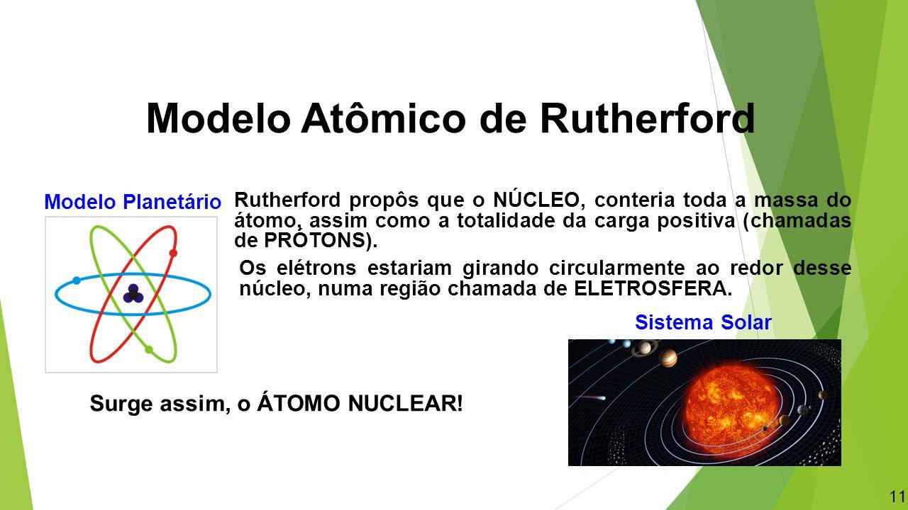 Rutherford propôs que o NÚCLEO, conteria toda a massa do átomo, assim como a totalidade da carga positiva (chamadas de PRÓTONS). Os elétrons estariam