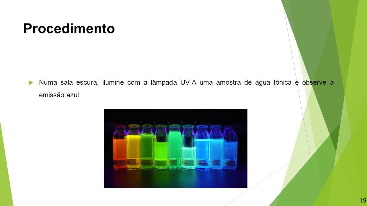 Procedimento  Numa sala escura, ilumine com a lâmpada UV-A uma amostra de água tônica e observe a emissão azul. 19