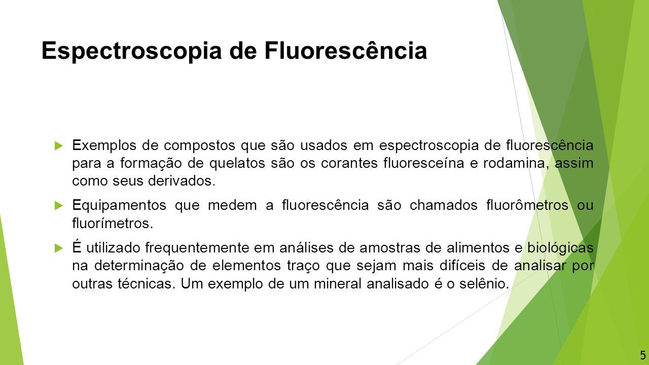 Espectroscopia de Fluorescência  Exemplos de compostos que são usados em espectroscopia de fluorescência para a formação de quelatos são os corantes