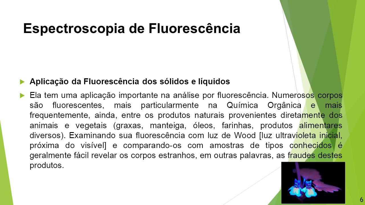 Espectroscopia de Fluorescência  Aplicação da Fluorescência dos sólidos e líquidos  Ela tem uma aplicação importante na análise por fluorescência. N