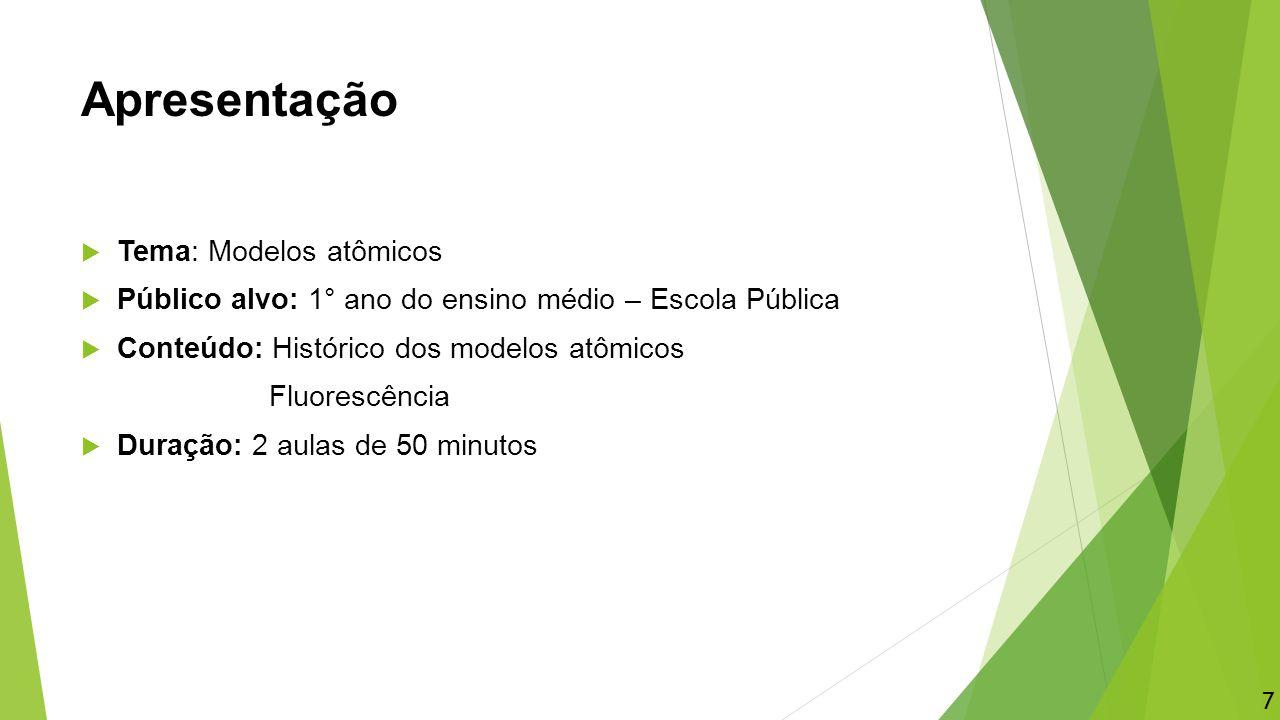 Apresentação  Tema: Modelos atômicos  Público alvo: 1° ano do ensino médio – Escola Pública  Conteúdo: Histórico dos modelos atômicos Fluorescência