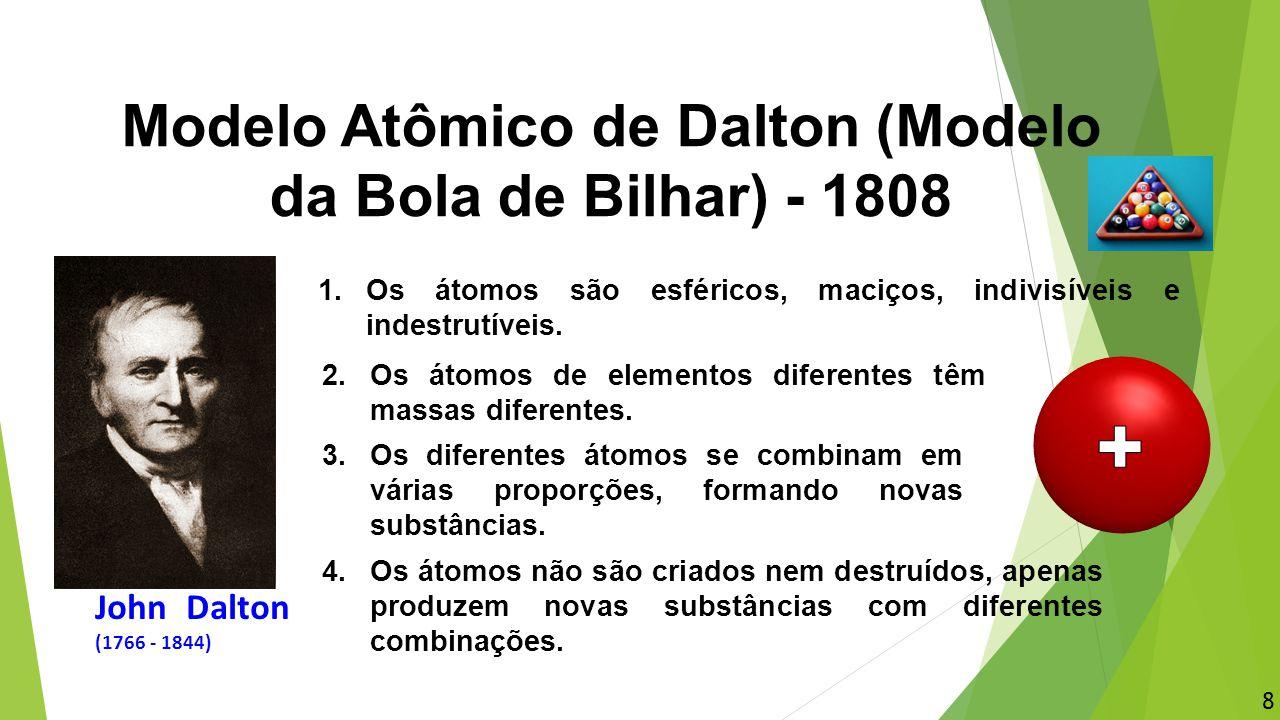 Modelo Atômico de Dalton (Modelo da Bola de Bilhar) - 1808 1.Os átomos são esféricos, maciços, indivisíveis e indestrutíveis. 2.Os átomos de elementos