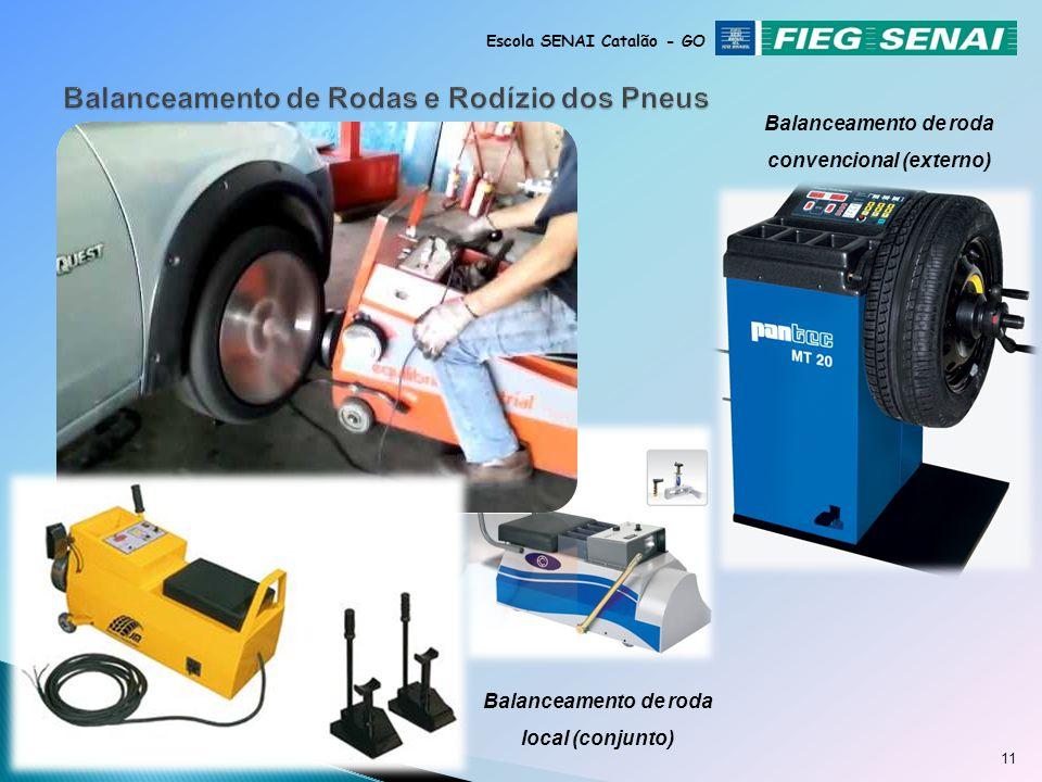 10 Escola SENAI Catalão - GO O balanceamento pode ser feito tanto com as rodas no veículo (usando balanceador local) atingindo todo conjunto rotativo,