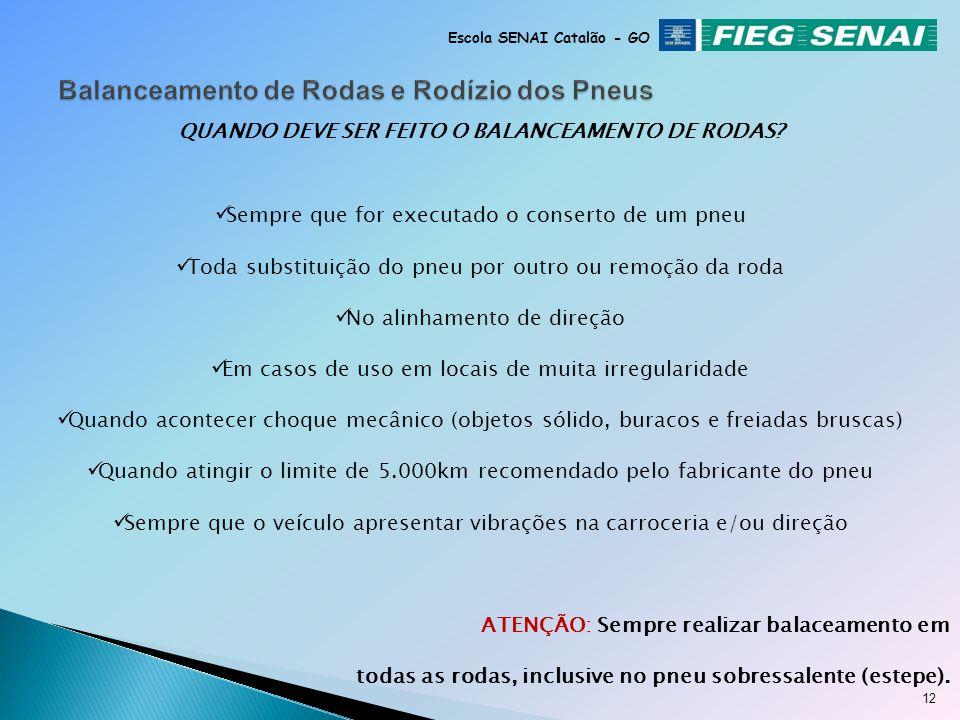11 Escola SENAI Catalão - GO Balanceamento de roda convencional (externo) Balanceamento de roda local (conjunto)