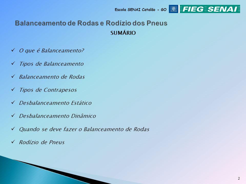 Fausto David Pereira Instrutor de Manutenção Automotiva BALANCEAMENTO DE RODAS Escola SENAI Catalão - GO